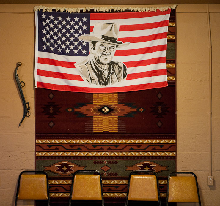 A John Wayne American flag hangs on the back wall at Lucy's on September 24, 2009 in McBaine, Mo.